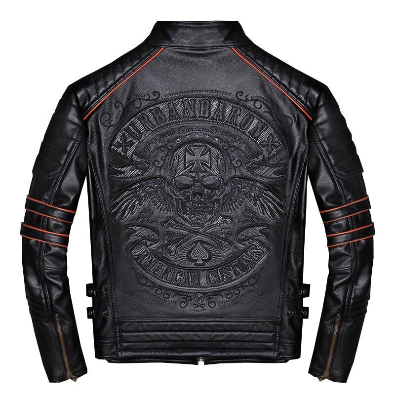 2020 noir hommes crânes broderie coupe étroite veste en cuir de motard grande taille 4XL véritable peau de vache court moto manteau livraison gratuite