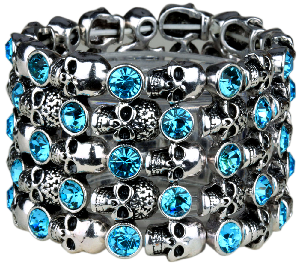 YACQ Skull Skeleton Stretch Cuff Bracelet for Women Biker Bling Crystal Jewelry Antique Silver Color Wholesale Dropshipping D07 6