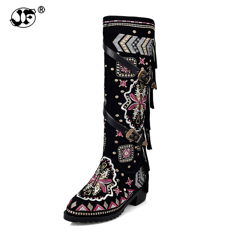 Top Quality Large Size 33-43 Winter Boots Ethnic Style Embroidery Cow Suede Genuine Leather Woman Shoes Fringe Buckles yhj89 fringe sleeve top