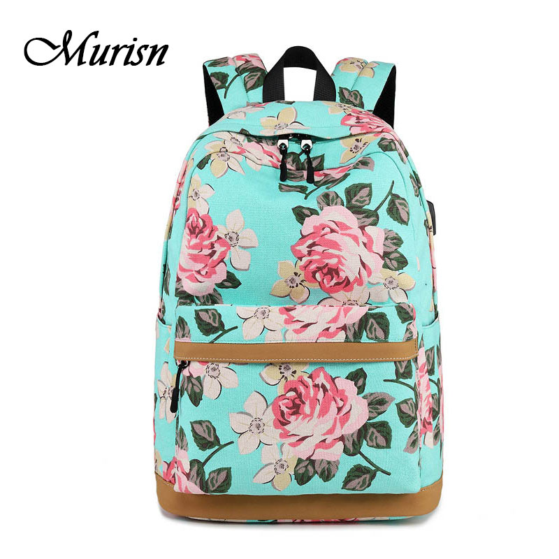 Printing Backpack Floral Female Bagpack Back To School Bags For Girls Laptop School Backpacks For Teenagers Mochila Feminina tourya vintage canvas women backpack school bags schoolbag for teenagers girls floral printing travel laptop bagpack mochila