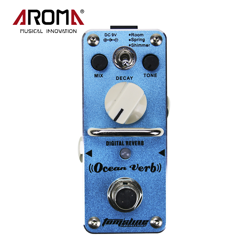New Ocean Verb Digital Reverb Electric Mini Single Guitar Effect Pedal With True Bypass AROMA AOV-3 amo 3 mario bit crusher electric guitar effect pedal aroma mini digital pedals full metal shell with true bypass