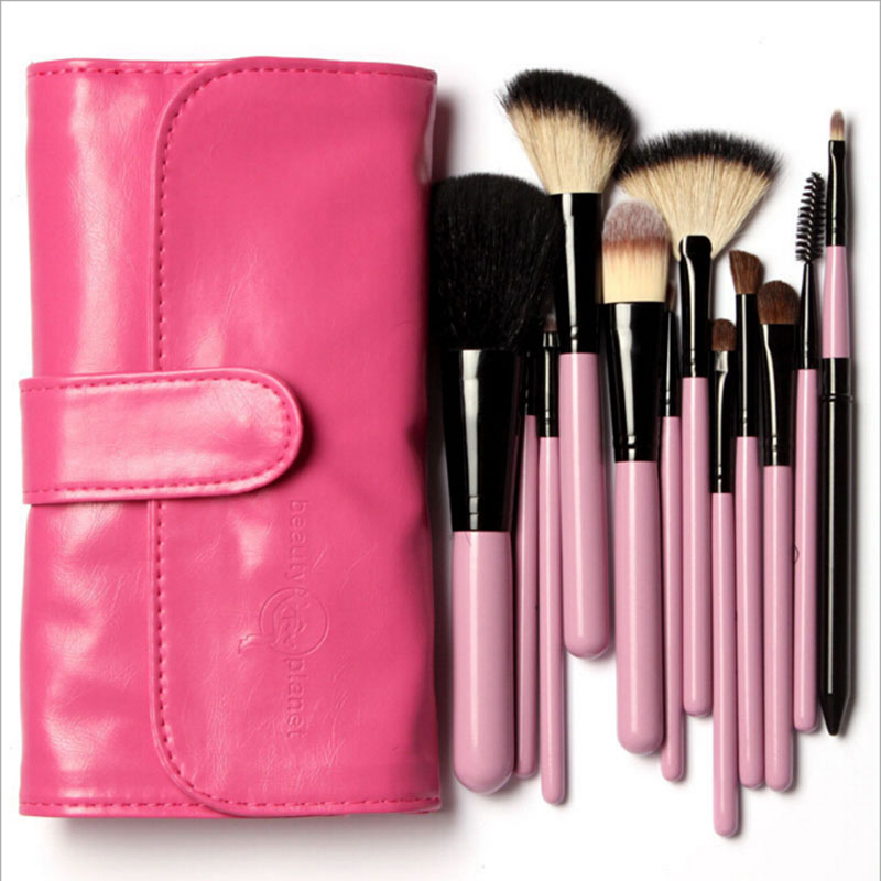 Professional Makeup Brushes Kit 12 Pieces Goat Hair in Pink Leather bag Make up Brushs