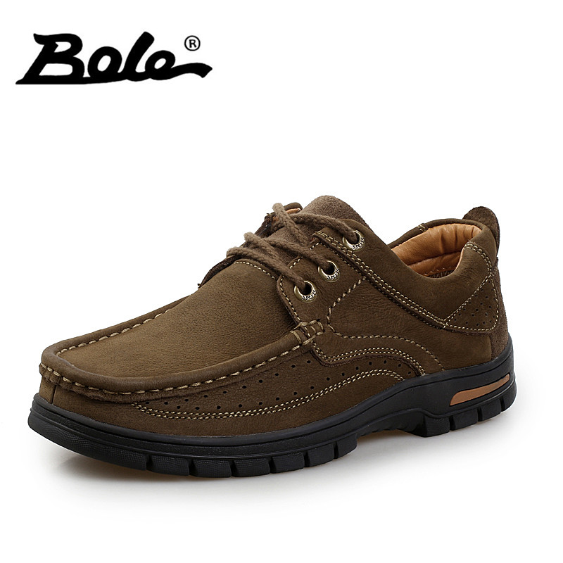 BOLE New Arrival Cow Suede Leather Men Shoes Fashion Designer Lace Up Breathable Shoes Men Thick Bottom Flats Shoes Men Footwear bimuduiyu trend casual shoes for men fashion light breathable lace up male shoes high quality suede leather black flats shoes