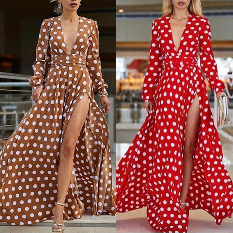 Polka Dot Vestido Vermelho Longo Manga Vestido de Verão 2019 As Mulheres Vestidos Boho senhoras Sexy Alta Dividir mulheres Túnica Vestido Longo verão