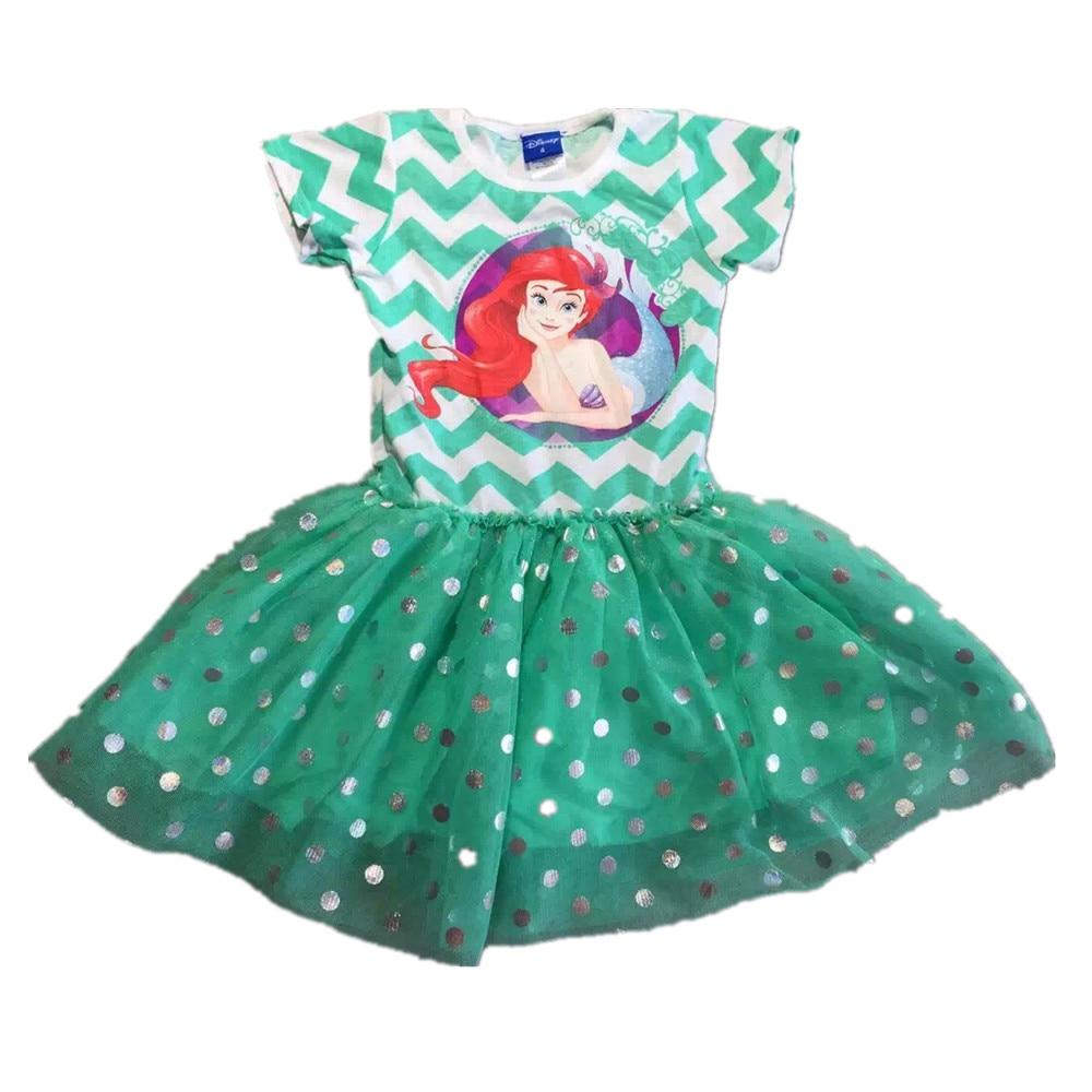 ,6pcs/lot little Girls summer Dress,the little mermaid queen dress,cartoon Ariel dress for girls