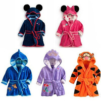 Cartoon Children's Bathrobes Kids Robe Flannel Child Boys Girls Robes Lovely Animal Hooded Bath Robes Long Sleeve Baby Bathrobe
