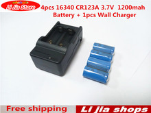 New 4pcs 16340 CR123A 3.7V 1200mah rechargeable Battery + 1pcs Wall Charger free shipping