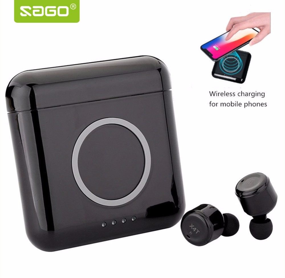 Sago X2T/X3T/X4T Wireless Bluetooth Earphones Wireless Earbuds Stereo Sound Bluetooth Earpiece for Mobile Wireless Charging