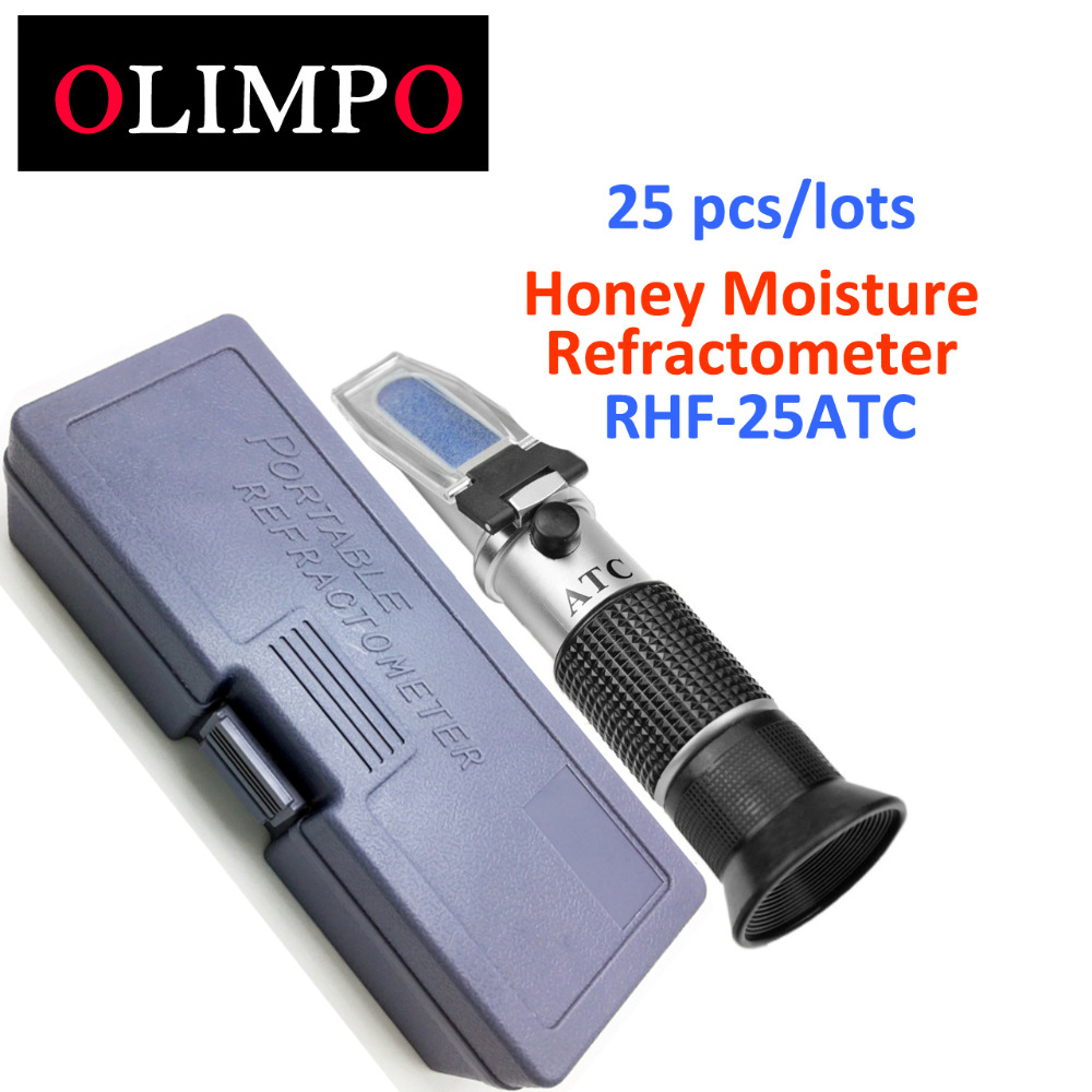 25 pcs/lots/carton olimpo Honey Water Refractometer 13-25% Moisture RHF-25ATC Apiculture Beekeeper Brand New Hardness Box ayhf beekeeper honey refractometer 58 90% brix sugar 38 43 baume 12 27% water wet rhb 90atc