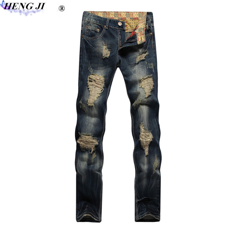 Male straight leg jeans, trim, fold, cat beard, make old,European version of long style,ripped jeans,high quality,free shipp