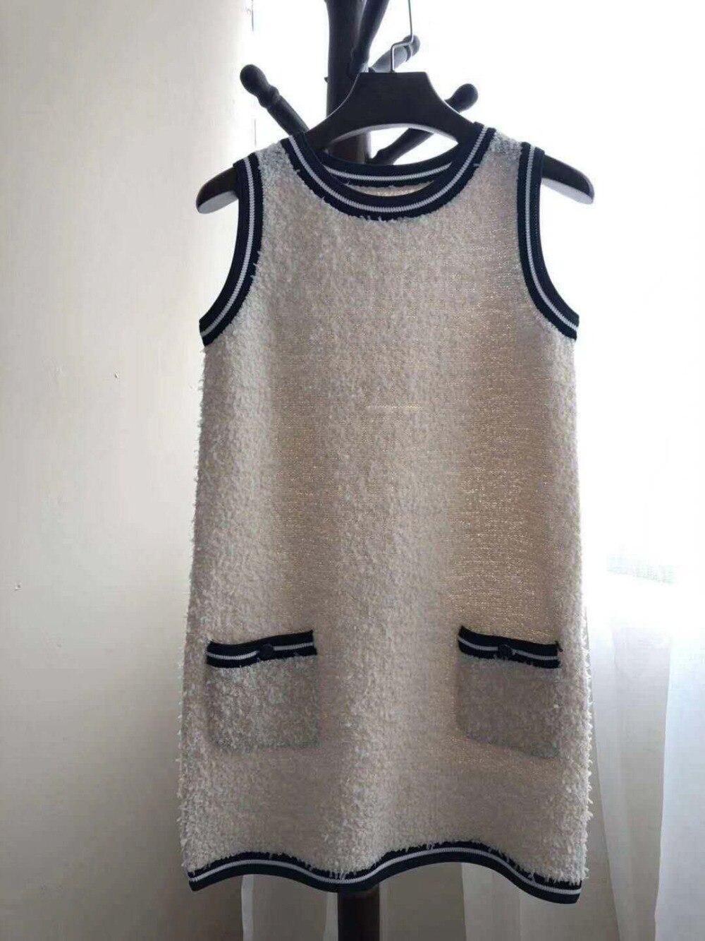Подиумные дизайнерские женские платья Новинка 2019 весеннее женское винтажное вязаное платье без рукавов с пуговицами высокого качества