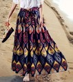 Хороший новый женщины осень юбки длиной макси хлопок высокой талии юбка Чешские геометрия печати большой бюст юбки женская saia лонга