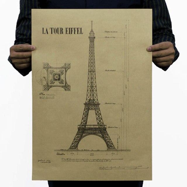 Романтический Париж город Ретро старинные плакат декоративные Эйфелева Башня живопись Художественная Галерея musemn украшения 51x35.5 см