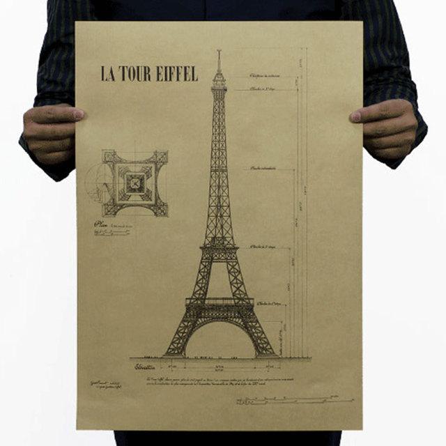 Romantic Paris city Retro Vintage old poster decorative Eiffel Tower ...