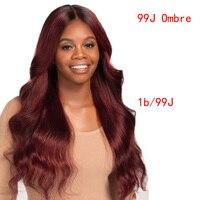 1B/99J бордовый Ombre натуральные волосы синтетические волосы на кружеве Искусственные парики для женщин бразильский Реми натуральные волосы т