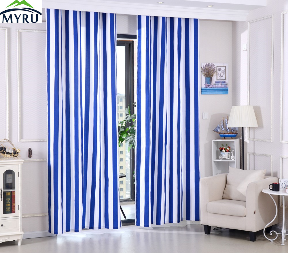 MYRU Mediterranean Style Blue And White Striped Cloth Curtain Sailor Navy  Style Cotton Canvas Cloth Curtain