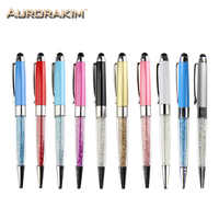 Crystal pen Diamond ballpoint pens 2 in 1 stylus pen for touch screen portable devices high quality plastic free shipping