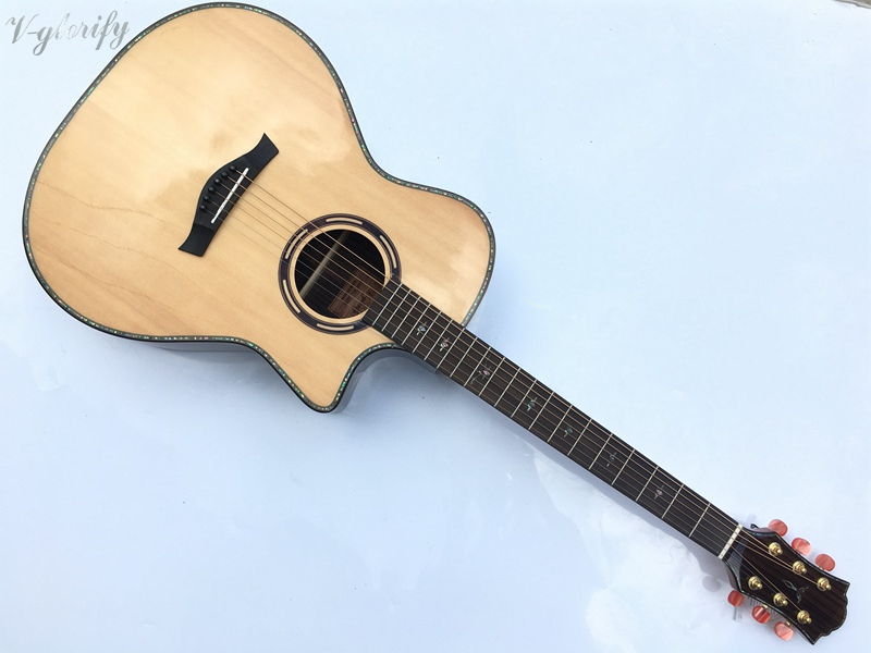 high grade hand made solid spruce top acoustic guitar free shipping top quality solid spruce top j 185ec acoustic guitar natural wooden acoustic guitar