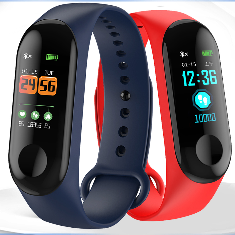 Fitness Smart Bracelet Color-screen IP68 Waterproof blood pressure Oxygen Monitor sport Heart Rate Smart band Pk mi band 3+Box smart watch m19 heart rate fitness bracelet sleep monitor smart tracker blood pressure smart band color screen band pk mi band 3