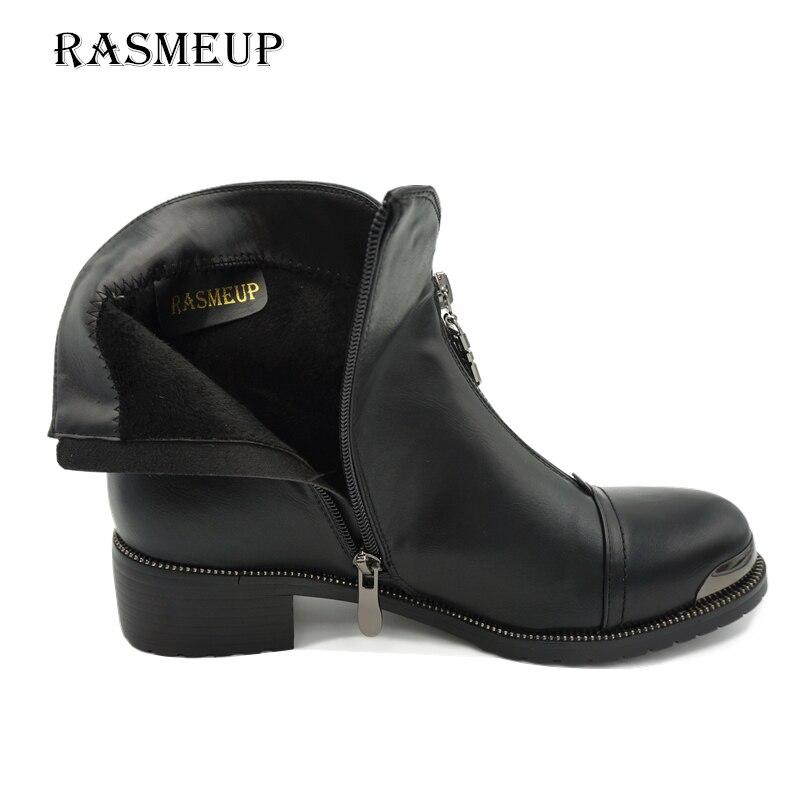 forme Cheville Femmes Mode Bottes Liquidation Chaussures De Noir En Zipper Rasmeup Martin Cuir Automne 2018 Peluche Femme Plate Hiver CqwE8Ip