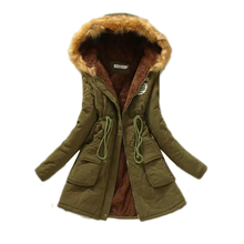 2017 Winter Women Parka Casual Outwear Females Cotton Coat Military Hooded  Woman Thick Jacket Fur Coats Women Clothes Cotton