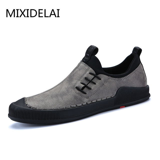 047d1ca07 MIXIDELAI 2018 New Spring Men Casual Shoes Luxury Brand Leather Cozy  Leisure Black For Mens Top