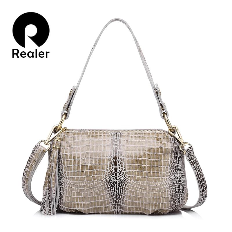 REALER Brand genuine leather women handbag crocodile pattern flap bag female shoulder bag with tassel ladies