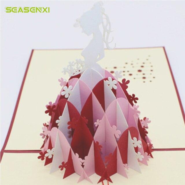 Seasenxi laser cut 3d pop up greeting cards bridal dress handmade seasenxi laser cut 3d pop up greeting cards bridal dress handmade origami kirigami craft wedding birthday m4hsunfo