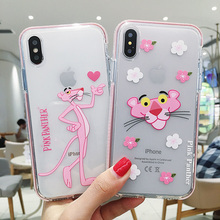 Cartoon Pink Panther Phone Couple Case Soft TPU Cute Lucency for iPhone 6 6s 7 8 Plus X XS XR Max 11 Pro