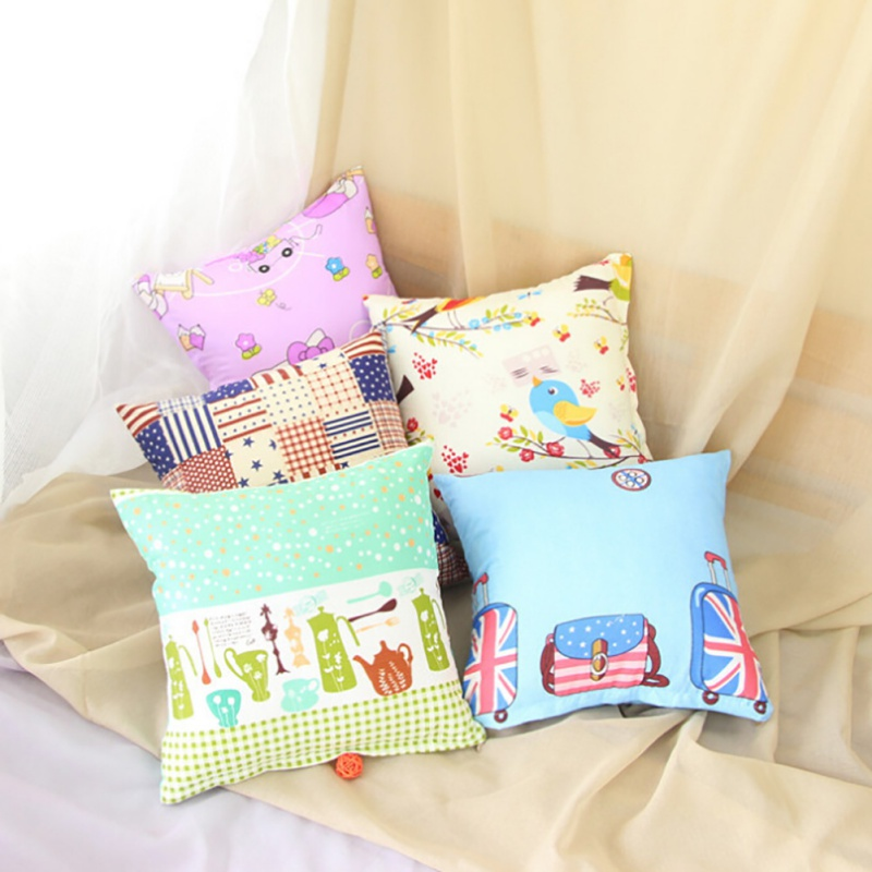 2017 1Pcs Pop 40*40cm Family Cover House Plush Pillow Home Room Office Back Throw Home  Pillow Cover Pillowcase