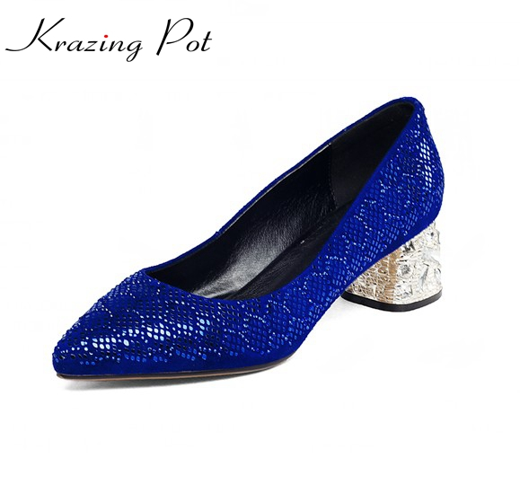 2018 fashion autumn plus size 34-43 nubuck leather med heel women pumps pointed toe sexy elegant rhinestone causal shoes L11