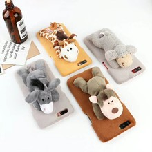 Hot DIY Cute Toys Dog Goat Tiger phone Cases For iPhone 8/7 7 Plus 6 X XS MAX Christmas Best gift Soft Fur Stand Holder Cover(China)