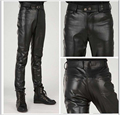 Free Shipping The New Spring 2015 Brand High-Grade Locomotive Pants Men's Fashion Leisure Man Leather Pants 28-38