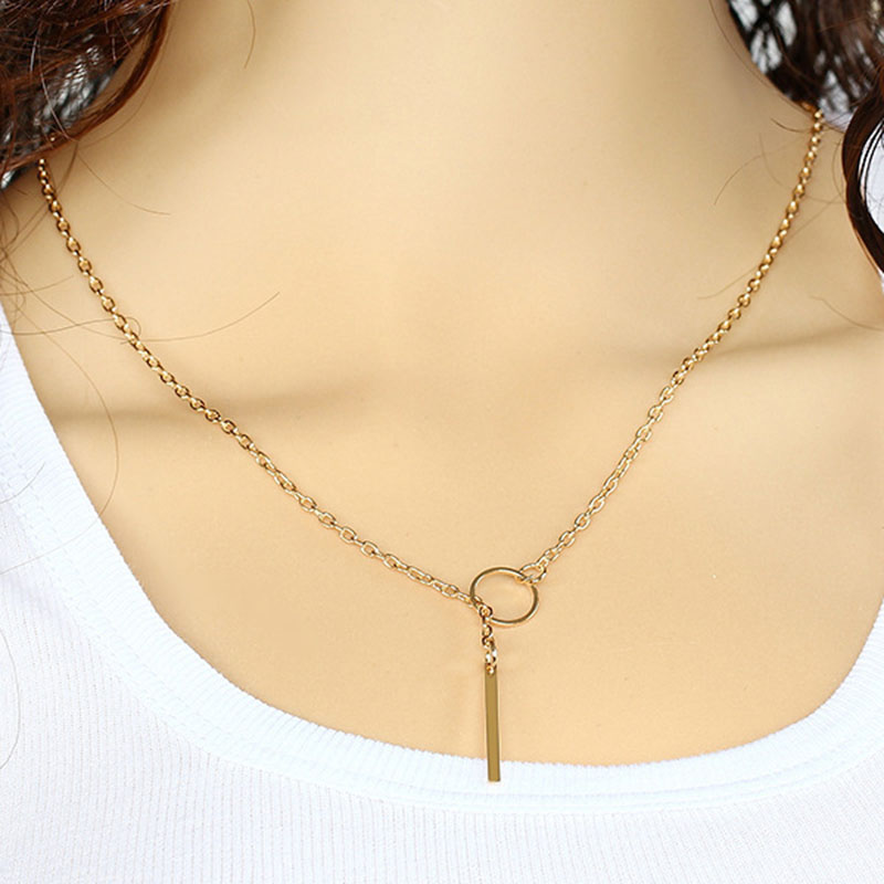 Fashion Simple gold/silver Color Single Layer Necklaces Long Pendant Necklaces 62cm Chain Necklace for woman 32B22