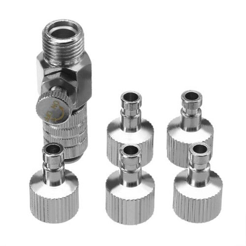 Część szybkozłącze pompy powietrza regulowane ciśnienie gniazdo wtykowe stop metal srebrny 44mm zestaw montażowy 1/8 wtyczka przydatna w Akcesoria do elektronarzędzi od Narzędzia na