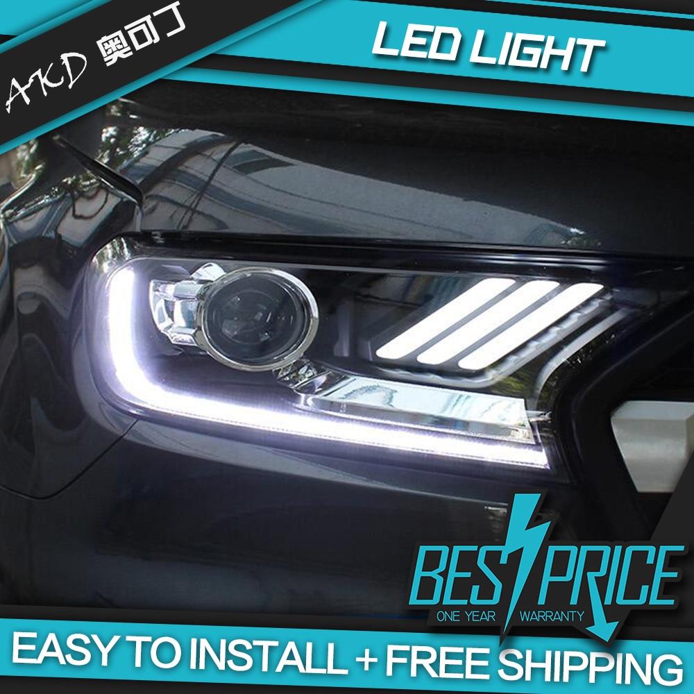 AKD Cars Styling Headlight For Ford Ranger Everest 2015-2018 Mustang Headlights LED Running Lights Bi-Xenon Beam Fog Lights