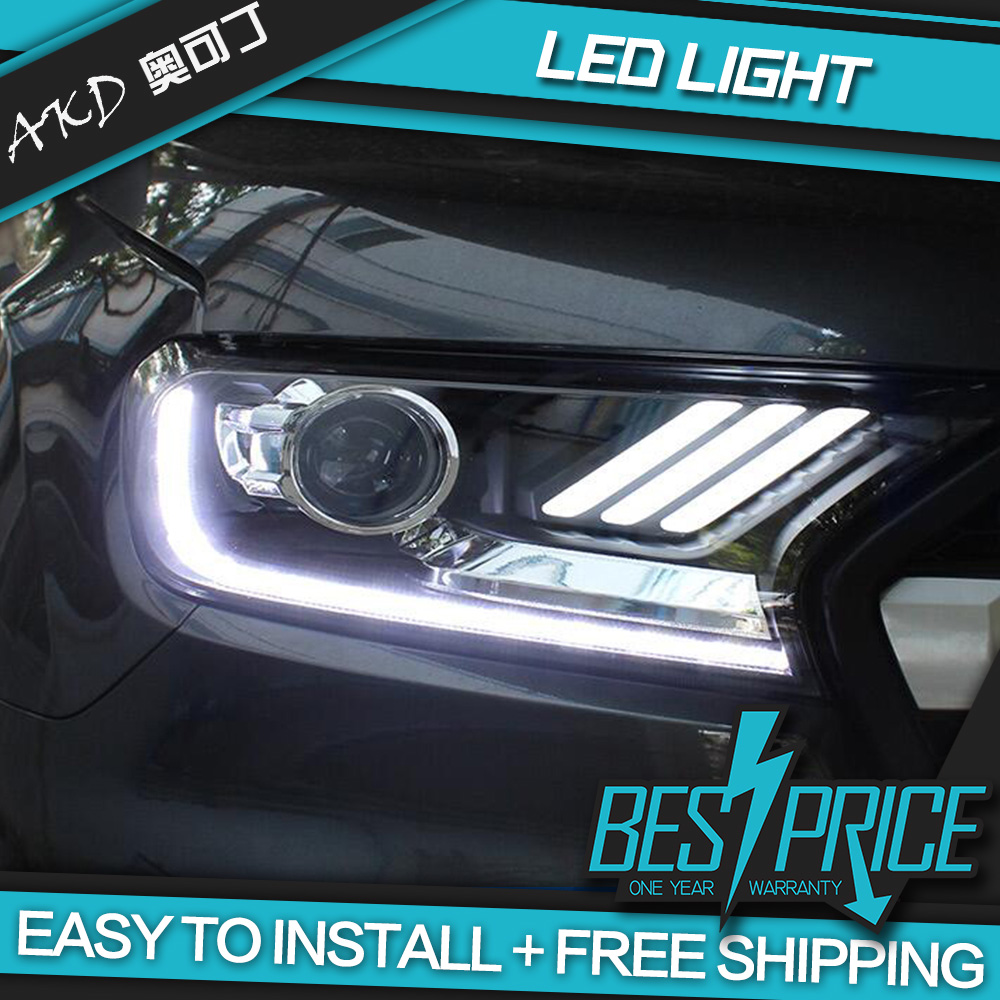 AKD Carros Styling Farol Para Ford Ranger Everest 2015-2018 Mustang Faróis LED Correndo luzes Bi-Xenon Feixe luzes de nevoeiro
