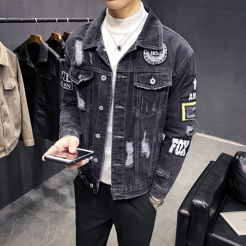 Streetwear Denim Jackets Men Holes Black Denim Coats High Quality Spring Autumn Men Outwear Casual Jean Jackets Cotton Jackets