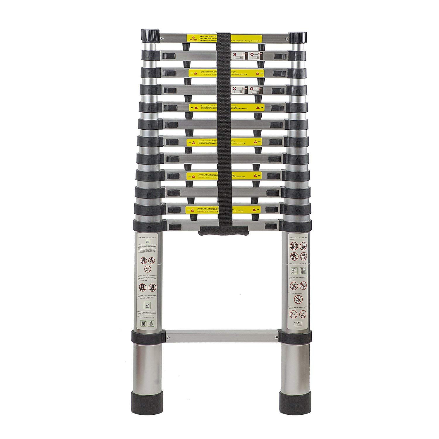 Smartlife 12.5 Ft Extendable Telescoping Aluminum Portable Ladder With Finger Protection Spacers,   Telescopic Ladder
