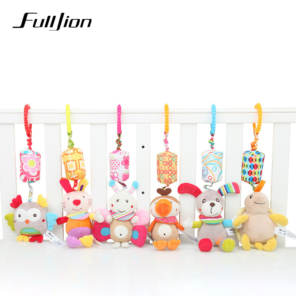 Fulljion Baby Rattles Mobiles Soft Cute Bed Bell Animals Toys For Baby 0 12 Month Plush Educational Hanging Bebe Stroller Gifts