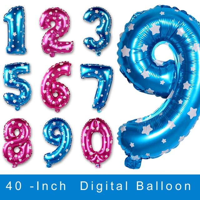 pulgadas digital nmero foil globos de figurasoro plata rosa azul para la decoracin