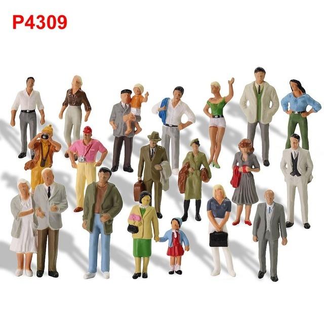 20 pcs Poses รถไฟ 1:43 O Scale ยืนทาสีตัวเลขผู้โดยสารคนรุ่นรถไฟ P4309