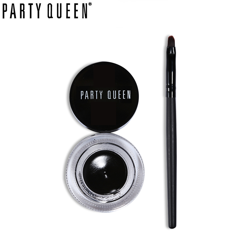 Party Queen Black & Brown Waterproof Smudge-proof Eyeliner Cream Make Glamour Eyes Lasting Drama Gel Eyeliner Set With Brush