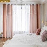 CITYINCITY apagón + cortinas de encaje para la habitación de doble capa blanco elegante pequeña daisy niños de encaje cortina de dormitorio de las mujeres
