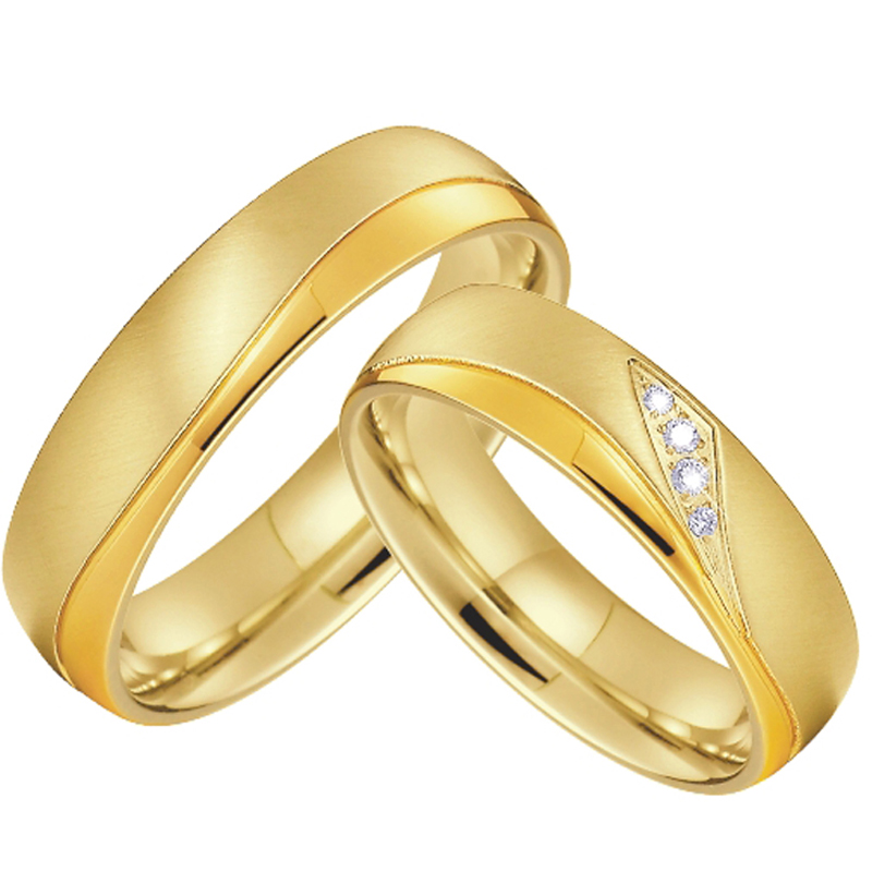 Wedding Ring Womens//Men/'s Gold-color Stainless Steel Promise Anniversary Jewelry