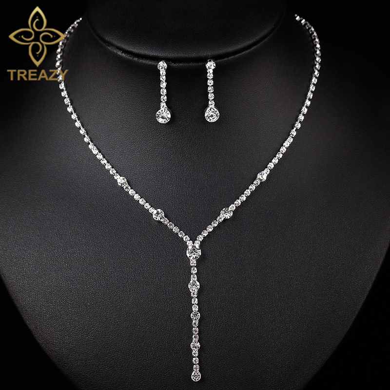 TREAZY Silver Plated Rhinestone Crystal Long Drop Necklace Earrings Set For  Women Bridesmaid Bridal Wedding Jewelry Sets 43be7c526bcc