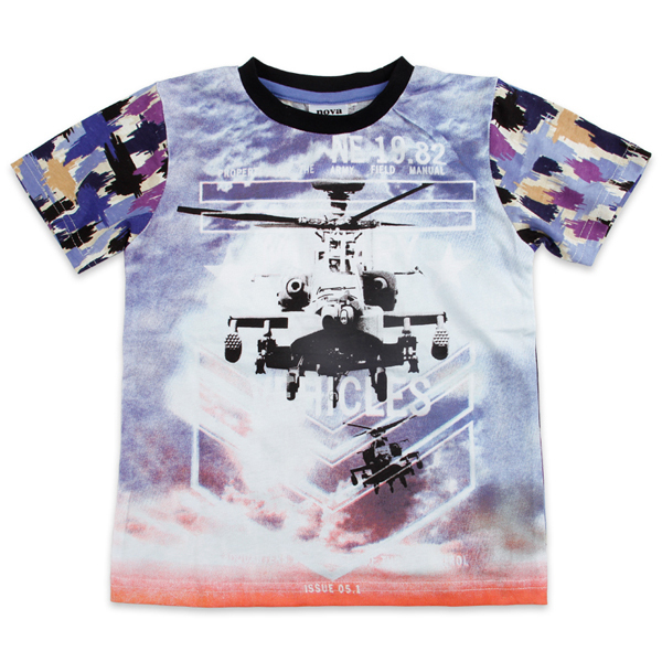 NEW arrival!!! Free shipping NWT boy's summer APACHI helicopter printing short sleeve t shirt, 5pcs/lot