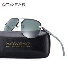 AOWEAR, классические авиационные солнцезащитные очки, мужские, алюминиевые, поляризационные, без оправы, солнцезащитные очки, мужские, фирменный дизайн, очки пилота, Gafas Sol Oculos