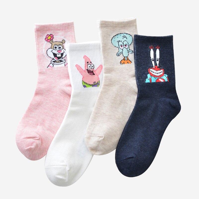 2019 Cartoon Character Funny Customized Cartoon Women   Socks   Harajuku Funny Skateboard Cute Patterned Fashion Female Cotton Sox