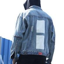 Hot Sale 424 Streetwear Hiphop Ripped Holes Zipper Denim Jean Jackets Men Women Female Fashion Man Denim Jacket